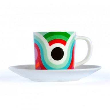 Taza+plato MERKEN para cafe de bone china